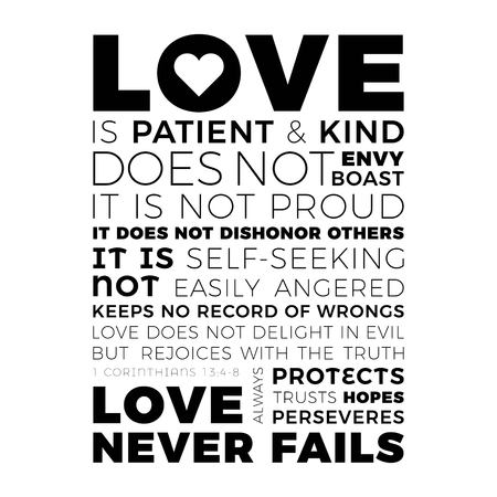 Biblical phrase from 1 corinthians 13:8, love never fails,typography design for use as printing poster, flyer or t shirt Vectores