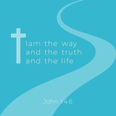 Phrase biblique de john gospel, je suis le chemin et la vérité et la vie, conception de typographie à utiliser comme affiche d'impression, dépliant ou t-shirt Vecteurs