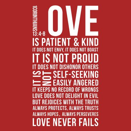 Biblical phrase from 1 corinthians 13:8, love never fails,typography design for use as printing poster, flyer or t shirt Illusztráció