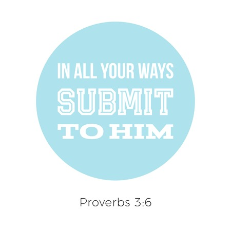Biblical phrase from proverbs, in all your ways submit to him, typography design for use as printing poster, flyer or t shirt Vectores
