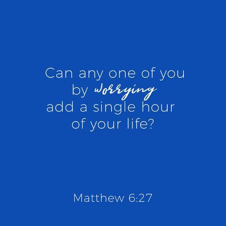 Phrase biblique de matthew gospel 6 sur l'inquiétude, la conception de la typographie à utiliser comme affiche d'impression, dépliant ou t-shirt