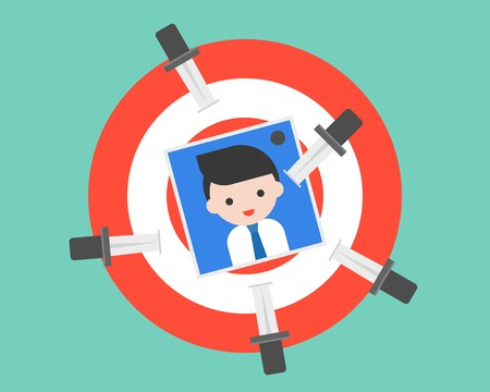 Trowing knife on dartboard with business people photo, revenge or eliminate victim and competitor concept, flat design