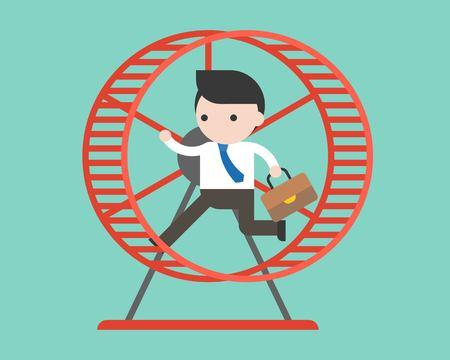Geschäftsmann läuft im Hamsterrad, flaches Design
