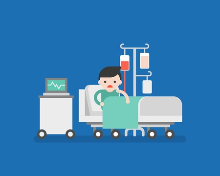 patient in hospital bed with blood transfusion, flat design vector
