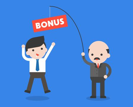 Capo o CEO che tiene la canna da pesca con bonus per i lavoratori della pesca, design piatto del concetto di motivazione dei dipendenti Vettoriali