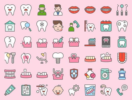 dentist and dental clinic related icon, such as toothbrush, tooth decay, make an appointment, teeth whitening, dental instruments, dentures, dental floss, bold line icon