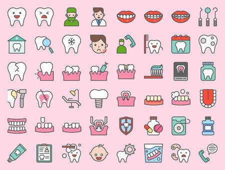 tandarts en tandheelkundige kliniek gerelateerd pictogram, zoals tandenborstel, tandbederf, maak een afspraak, tanden bleken, tandheelkundige instrumenten, kunstgebitten, tandzijde, vetgedrukte lijnpictogram