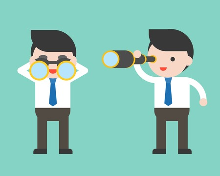 Cute Businessman or manager with binoculars and monocular scope, ready to use character, flat design Illustration
