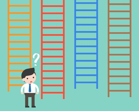 Businessman confused to choosing which ladder, flat design making decision business concept