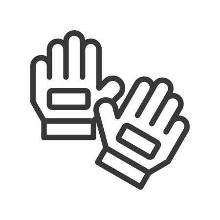 Goalkeeper gloves vector illustration icon soccer related, Outline style