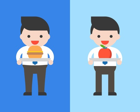 Obesity man and businessman  with burger and apple, healthy and unhealthy food you are what you eat concept flat design