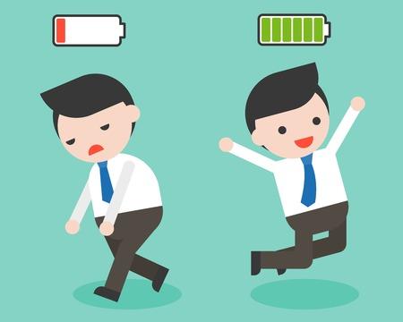 Hombre de negocios feliz y lleno de energía, empresario de agotamiento y falta de energía, personaje de diseño plano