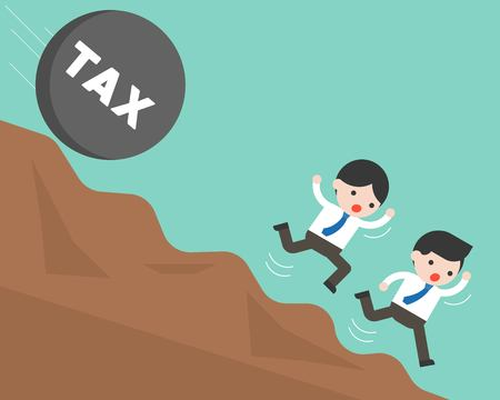 Two businessman running from rolling stone with tax alphabet falling from hill, flat design tax concept Illustration