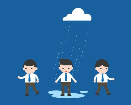 Raining on Businessman alone, unfair and unequal concept flat design