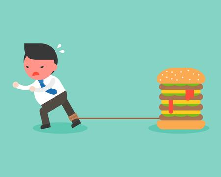 Fat Businessman chained with giant hamburger and try to runaway from it, junk food addict behavior and obesity or over weigh concept, flat design