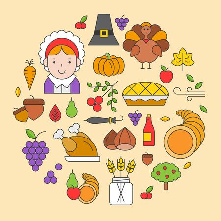 Thanksgiving icon arrange as circle shape for use as cover,background,wallpaper,backdrop Archivio Fotografico - 110391398