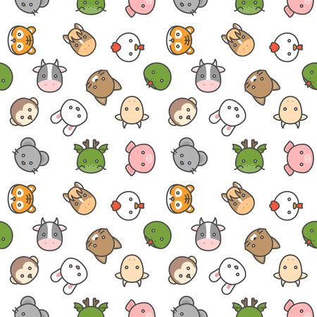 cute Chinese zodiac seamless pattern vector in filled outline icon style