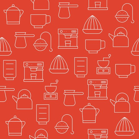 coffee brewing equipment, kettle, kitchen utensil for making beverage, seamless pattern vector for wallpaper or wrapping paper Illustration