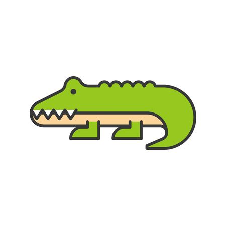 alligator or crocodile vector, wild animal in zoo icon set, filled outline design Иллюстрация