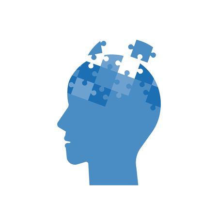 Head jigsaw puzzle, mind jigsaw puzzle, flat design. Çizim