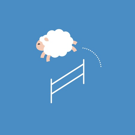 Sheep jumping over a fence, jump pass obstacle, flat design.