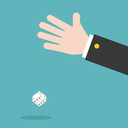 hand and dice, flat design vector illustration gambling concept