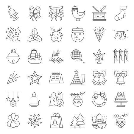 Christmas ornaments icon set, editable stroke outline
