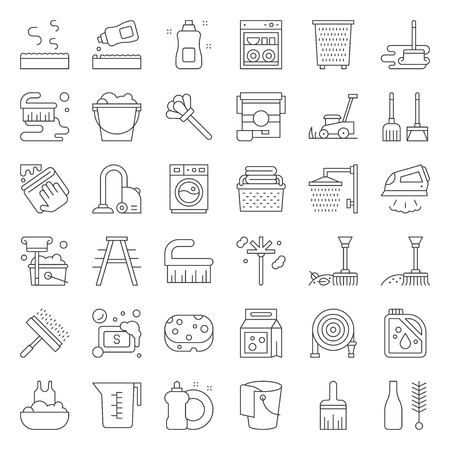 Cleaning and laundry service and equipment outline icon set. Ilustração