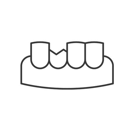 chipped tooth, simple outline icon dental care set. Illustration