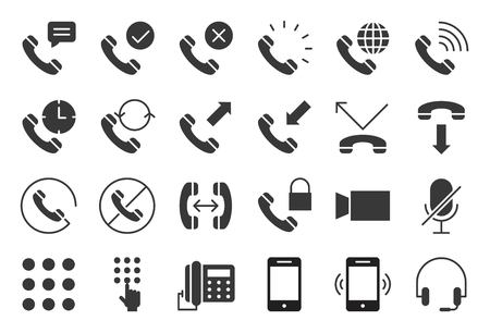 Vector basic phone and call icon set, solid style. Illusztráció