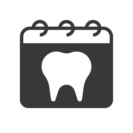 dentist appointment on calendar, dental related solid icon.