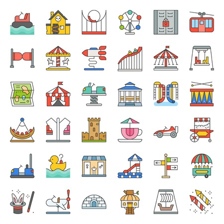 Amusement park icon and coin operated ride, filled outline icons set.