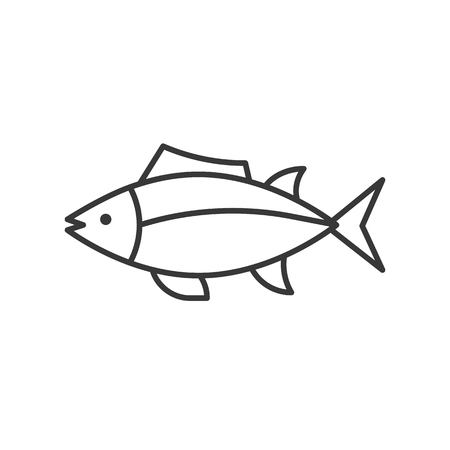 Tuna icon, set of ocean life, line design vector. Vettoriali