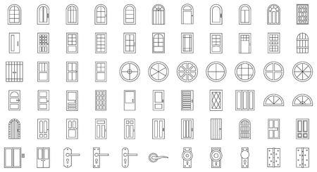 Zestaw ikon instalacji drzwi i okien, cienka linia. Ilustracje wektorowe