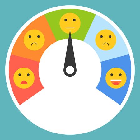 Satisfaction meter, satisfaction level, flat design vector illustration.