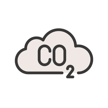 Carbon monoxide on cloud, Flat vector icon.