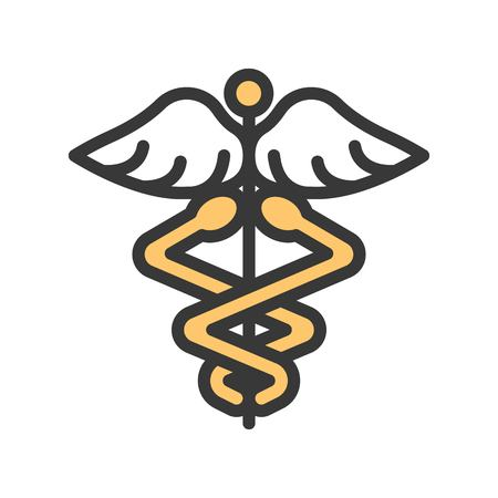 caduceus a symbolic represents  Hermes, use in astrology, alchemy, and astronomy,filled outline icon. Ilustração