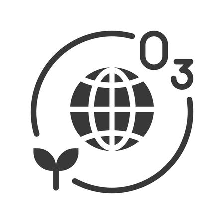 World and ozone layer, solid or silhouette icon.