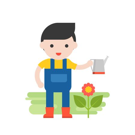Gardener with flower and watering can, Set Profession character of people in uniform, flat design.