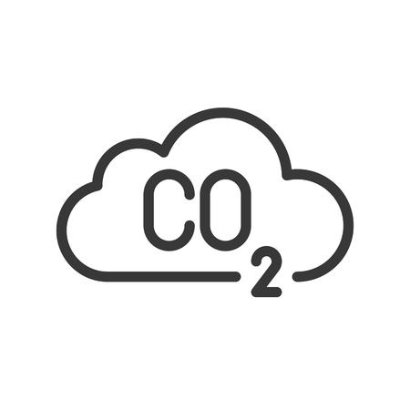 Carbon monoxide on cloud, pollution vector icon.