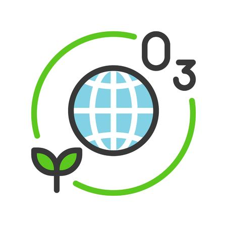 Ozone layer and plant with Globe or planet earth icon filled line flat design.