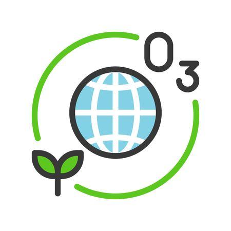La capa de ozono y la planta con el icono del globo o el planeta tierra llenaron el diseño plano de la línea.