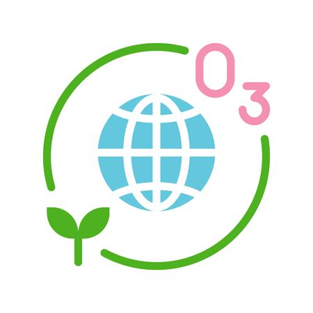 Ozone layer and plant with Globe or planet earth icon flat design.
