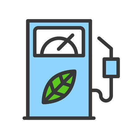 Bio fuel dispenser, Clean energy concept filled outline Flat icon. Banque d'images - 111393631