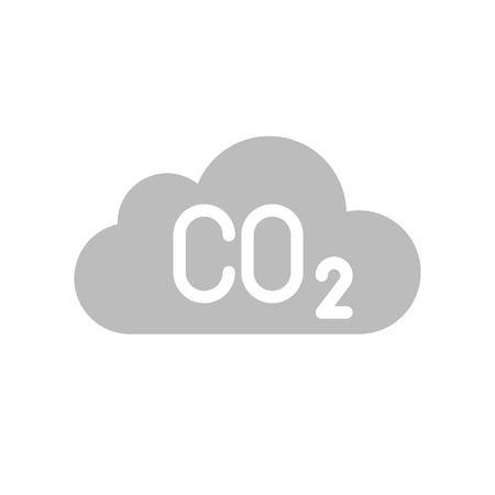 Carbon monoxide on cloud, Flat vector icon.