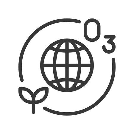 Strato di ozono e pianta con l'icona del globo o del pianeta terra.
