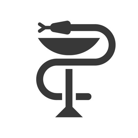 A snake twined around a chalice, Bowl of Hygieia one of the symbols of pharmacy.  イラスト・ベクター素材
