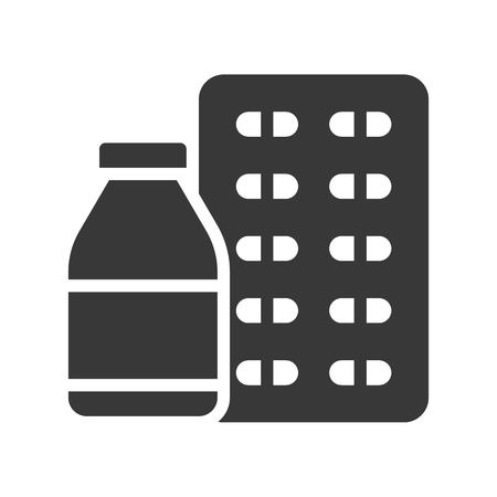syrup bottle and capsule, healthcare and medical related solid icon.