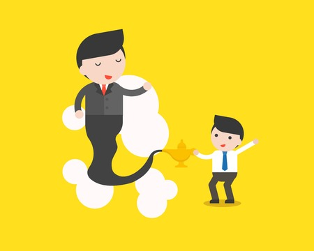 Cute businessman and giant businessman from Arabian lamp, business situation in flat design.
