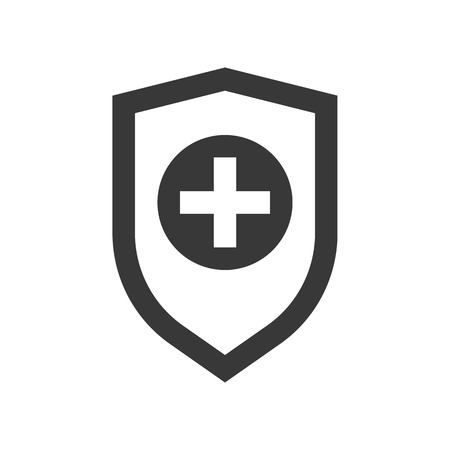 Cross sign on shield, healthcare and medical related solid icon. Ilustracja